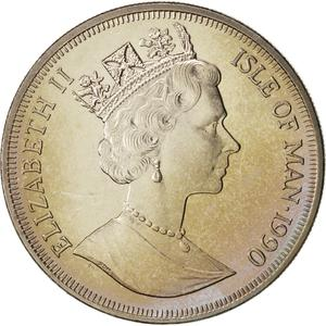 Isle of Man / One Crown 1990 Queen Mother - obverse photo