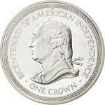 Isle of Man / One Crown 1976 American Independence - reverse photo