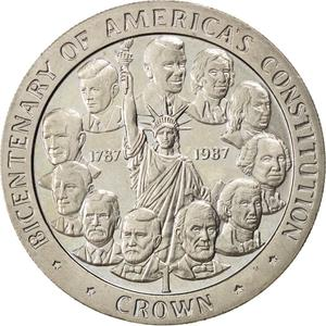 Isle of Man / One Crown 1987 American Constitution - reverse photo
