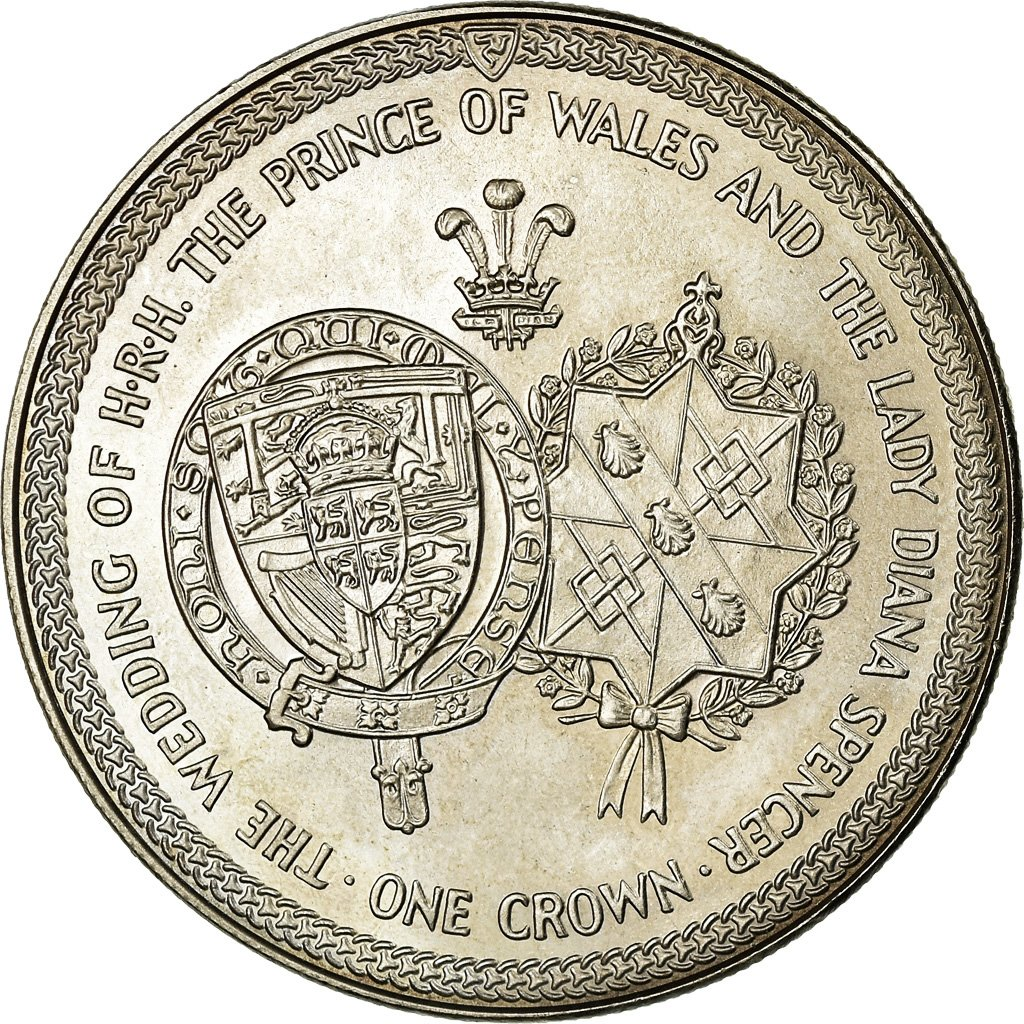One Crown 1981 Royal Wedding: Photo Coin, Isle of Man, One Crown 1981 Royal Wedding