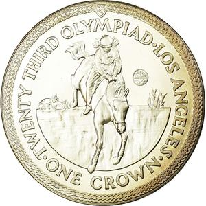 Isle of Man / One Crown 1984 Olympics - Los Angeles - Equestrian - reverse photo