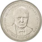Isle of Man / One Crown 1974 Churchill - reverse photo