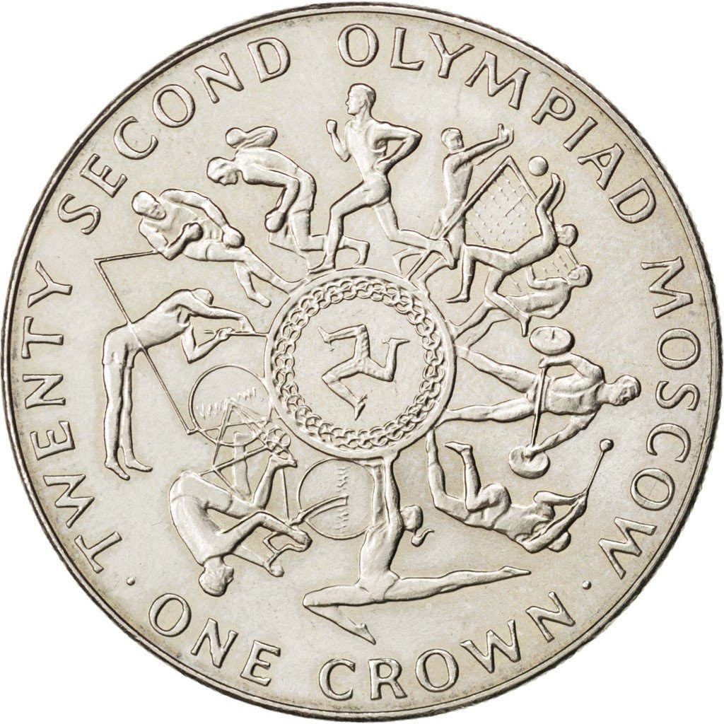 One Crown 1980 Olympics - Moscow (First): Photo Coin, Isle of Man, One Crown 1980 Olympics - Moscow (First)