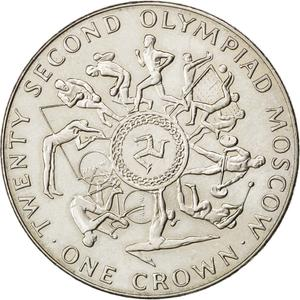 Isle of Man / One Crown 1980 Olympics - Moscow (First) - reverse photo