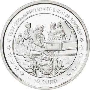 Isle of Man / Ten Euro 1997 Schubert - reverse photo