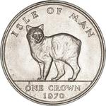 Isle of Man / One Crown 1970 Manx Cat / Silver Proof - reverse photo