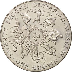 Isle of Man / One Crown 1980 Olympics - Moscow (Second) - reverse photo