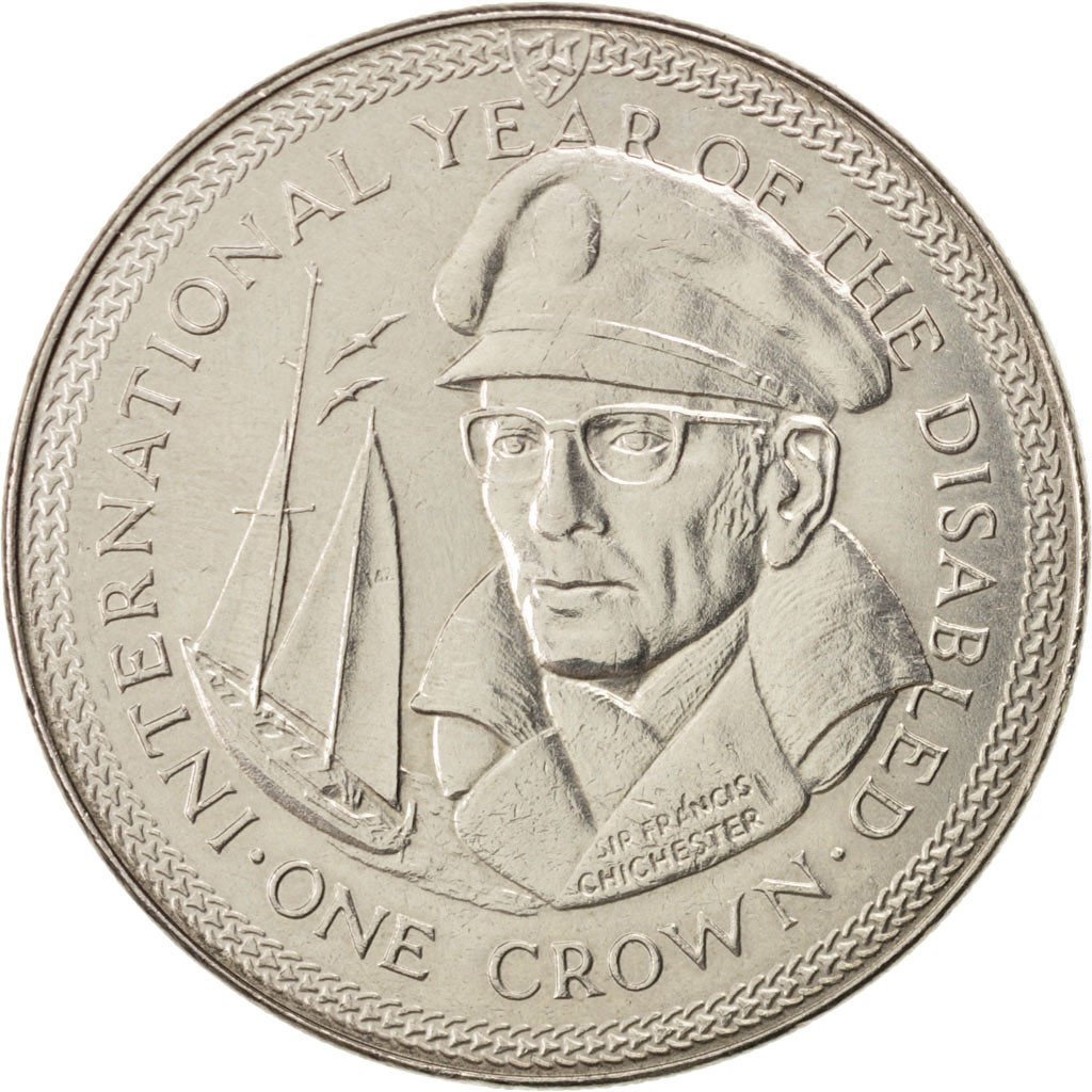 One Crown 1981 Year of the Disabled - Chichester: Photo Coin, Isle of Man, One Crown 1981 Year of the Disabled - Chichester