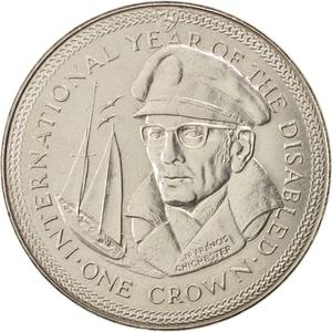 Isle of Man / One Crown 1981 Year of the Disabled - Chichester - reverse photo