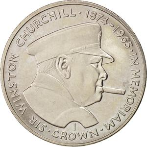 Isle of Man / One Crown 1990 Churchill - reverse photo