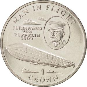 Isle of Man / One Crown 1994 Zeppelin - reverse photo