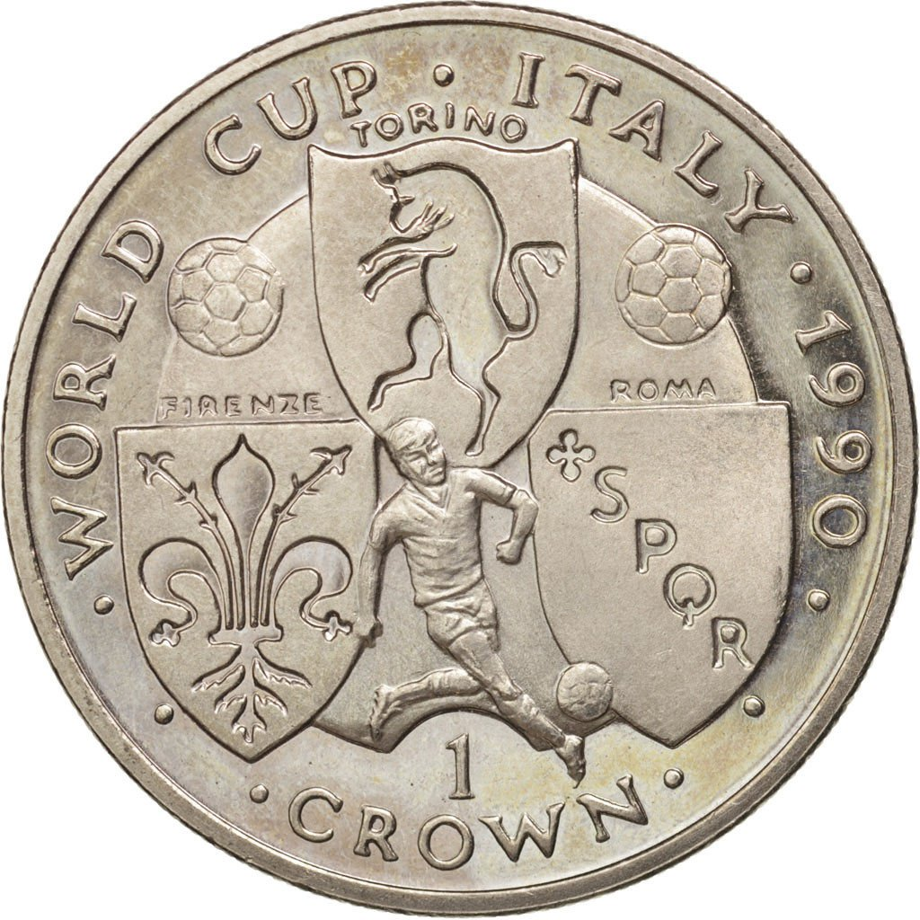 One Crown 1990 Football World Cup - Torino: Photo Coin, Isle of Man, One Crown 1990 Football World Cup - Teams