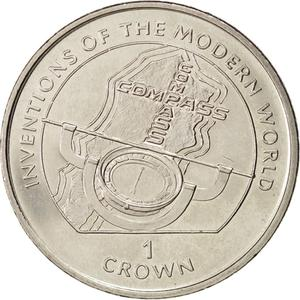 Isle of Man / One Crown 1996 Compass - reverse photo