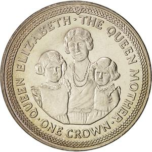 Isle of Man / One Crown 1990 Queen Mother - reverse photo