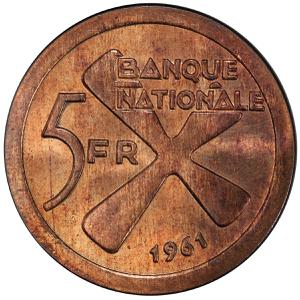 Katanga / Five Francs 1961 - reverse photo