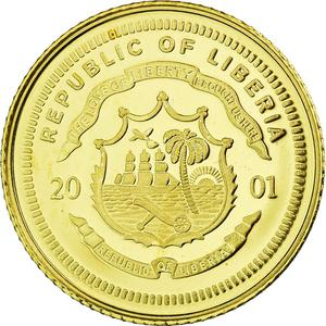 Liberia / Gold Twenty-five Dollars 2001 Nostradamus - reverse photo