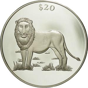 Liberia / Silver Twenty Dollars 2000 Lion - obverse photo