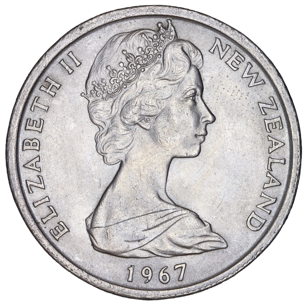Fifty Cents 1967, Coin from New Zealand - Online Coin Club