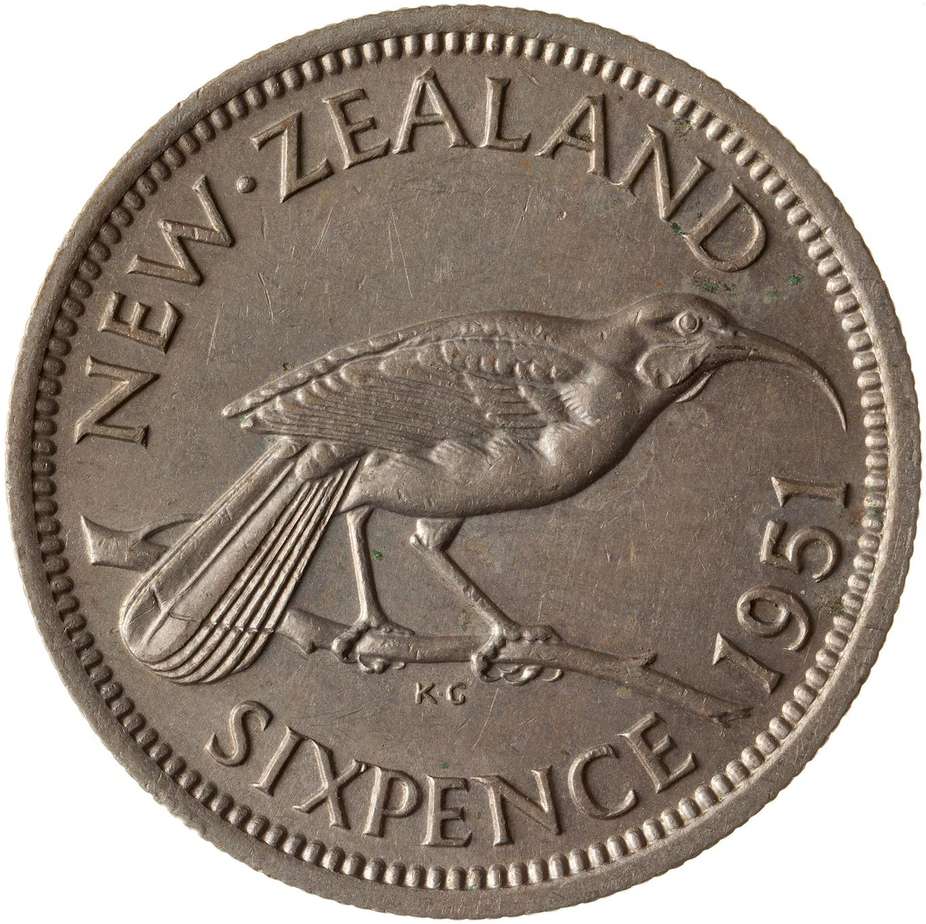 Sixpence 1951: Photo Coin - 6 Pence, New Zealand, 1951