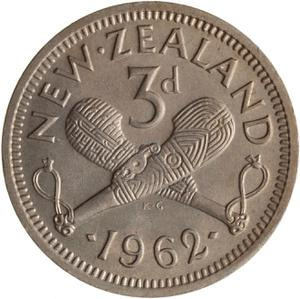 New Zealand / Threepence 1962 - reverse photo