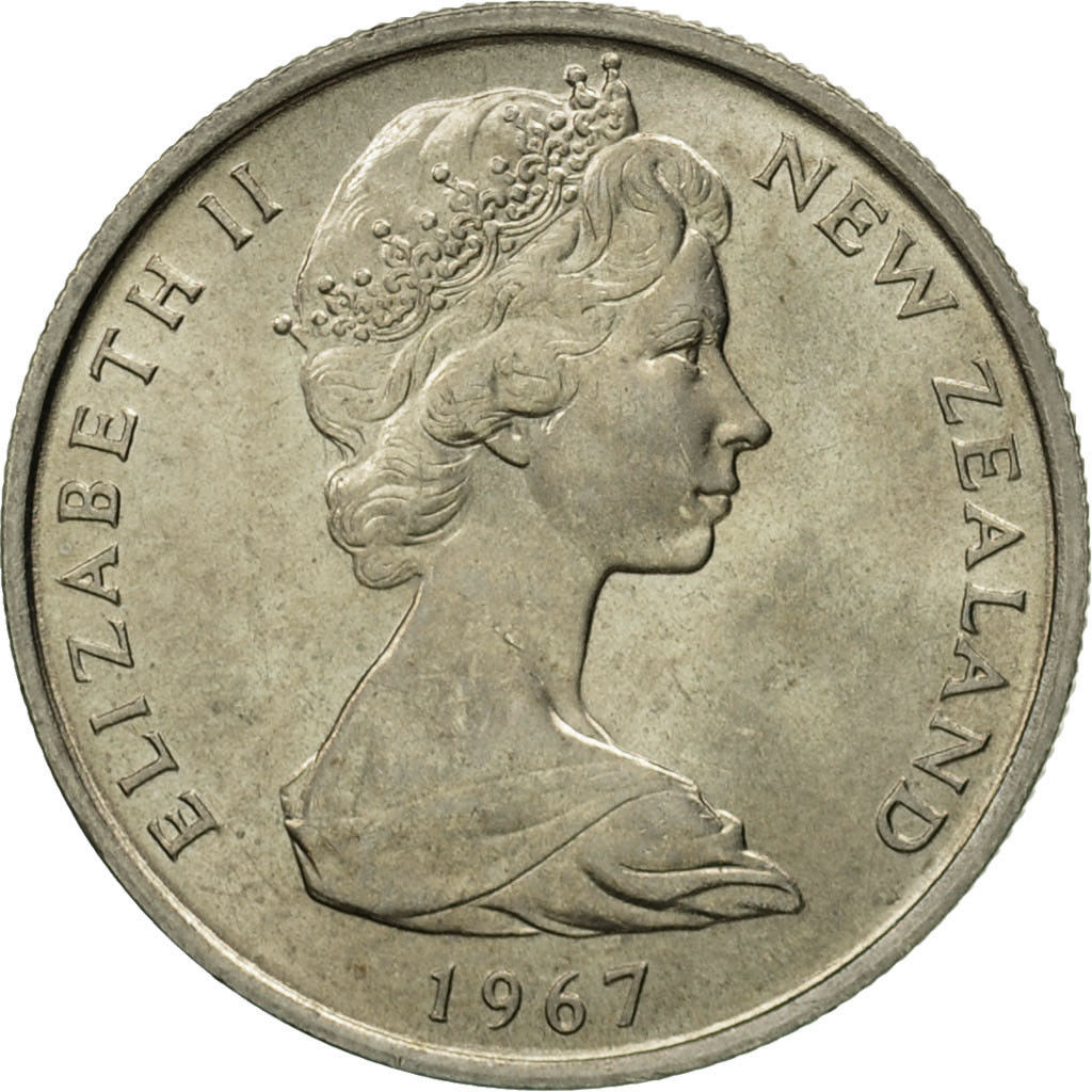 Five Cents 1967: Photo New Zealand, Elizabeth II, 5 Cents, 1967