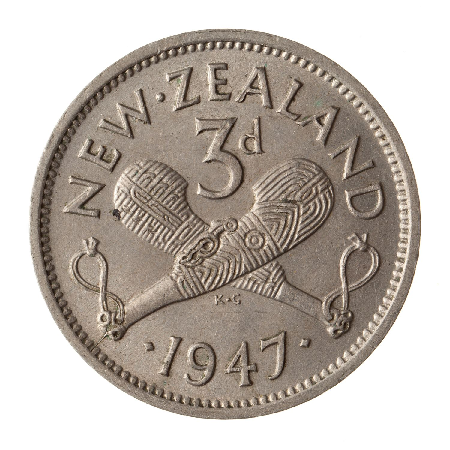 Threepence 1947: Photo Coin - 3 Pence, New Zealand, 1947