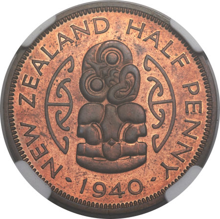 Halfpenny 1940: Photo New Zealand 1940 1/2 penny