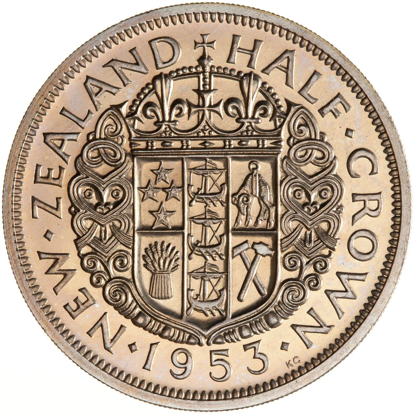 Half Crown 1953: Photo Proof Coin - 1/2 Crown, New Zealand, 1953
