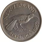 Sixpence 1957: Photo Coin - 6 Pence, New Zealand, 1957