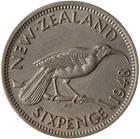 Sixpence 1948: Photo Coin - 6 Pence, New Zealand, 1948