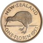 Florin 1953: Photo Proof Coin - Florin (2 Shillings), New Zealand, 1953