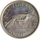 Sixpence 1953: Photo Proof Coin - 6 Pence, New Zealand, 1953