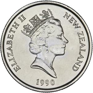 New Zealand / Five Cents 1990 (150th Anniversary) - obverse photo
