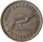 Sixpence 1950: Photo Coin - 6 Pence, New Zealand, 1950