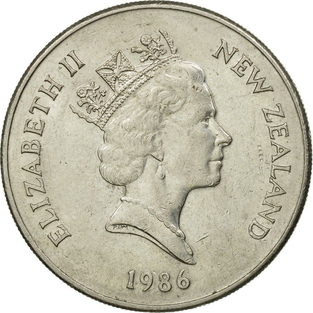 Twenty Cents 1986: Photo Coin, New Zealand, Elizabeth II, 20 Cents, 1986