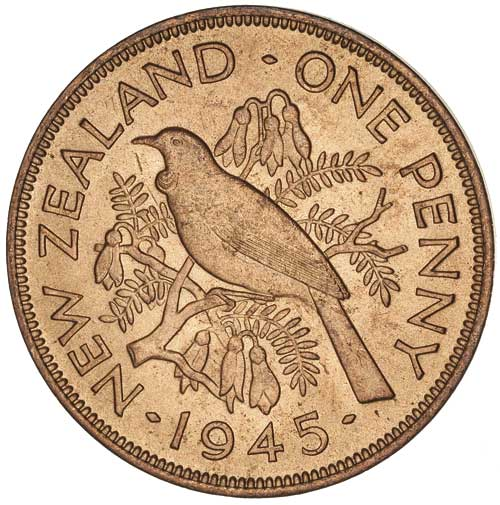 Penny 1945, Coin from New Zealand - Online Coin Club