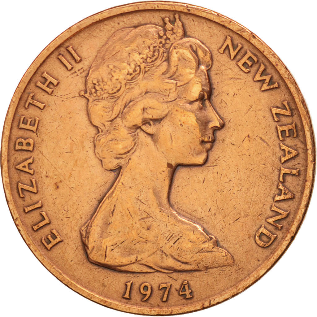 Two Cents 1974: Photo New Zealand, Elizabeth II, 2 Cents, 1974