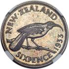 Sixpence 1933: Photo New Zealand 1933 6 pence