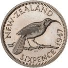 Sixpence 1947: Photo Proof Coin - 6 Pence, New Zealand, 1947