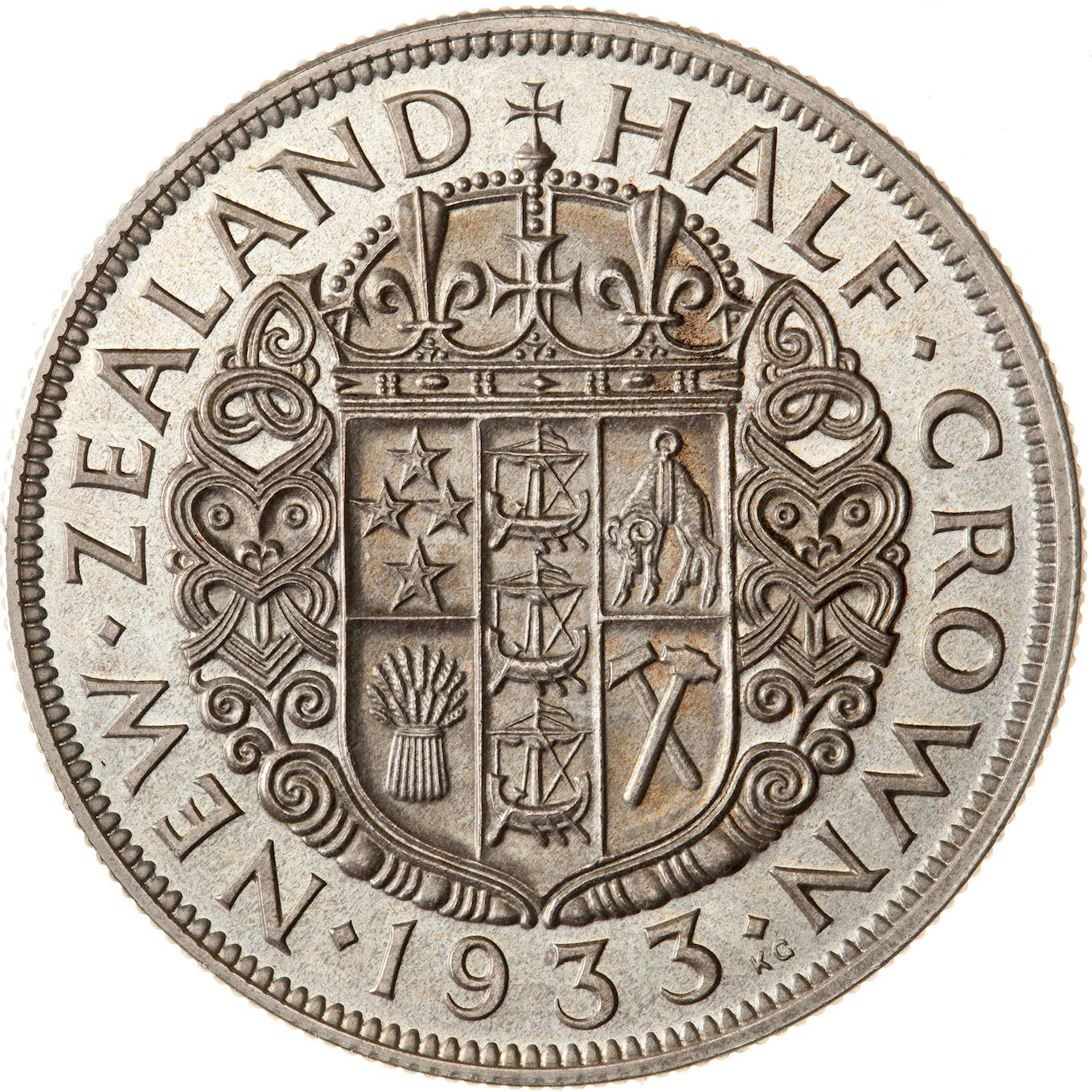 Half Crown 1933: Photo Proof Coin - 1/2 Crown, New Zealand, 1933