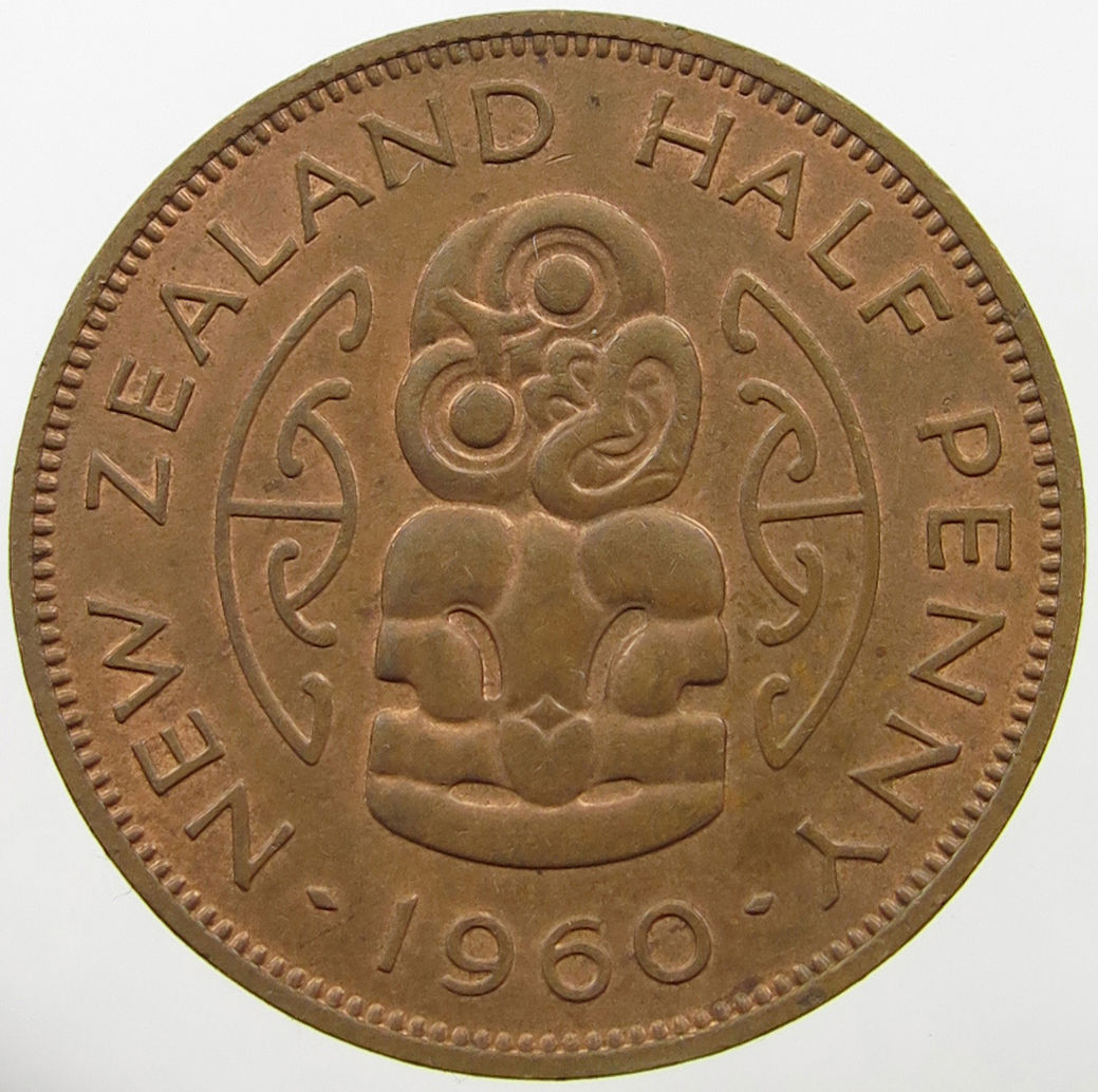 Halfpenny 1960: Photo New Zealand Half Penny 1960