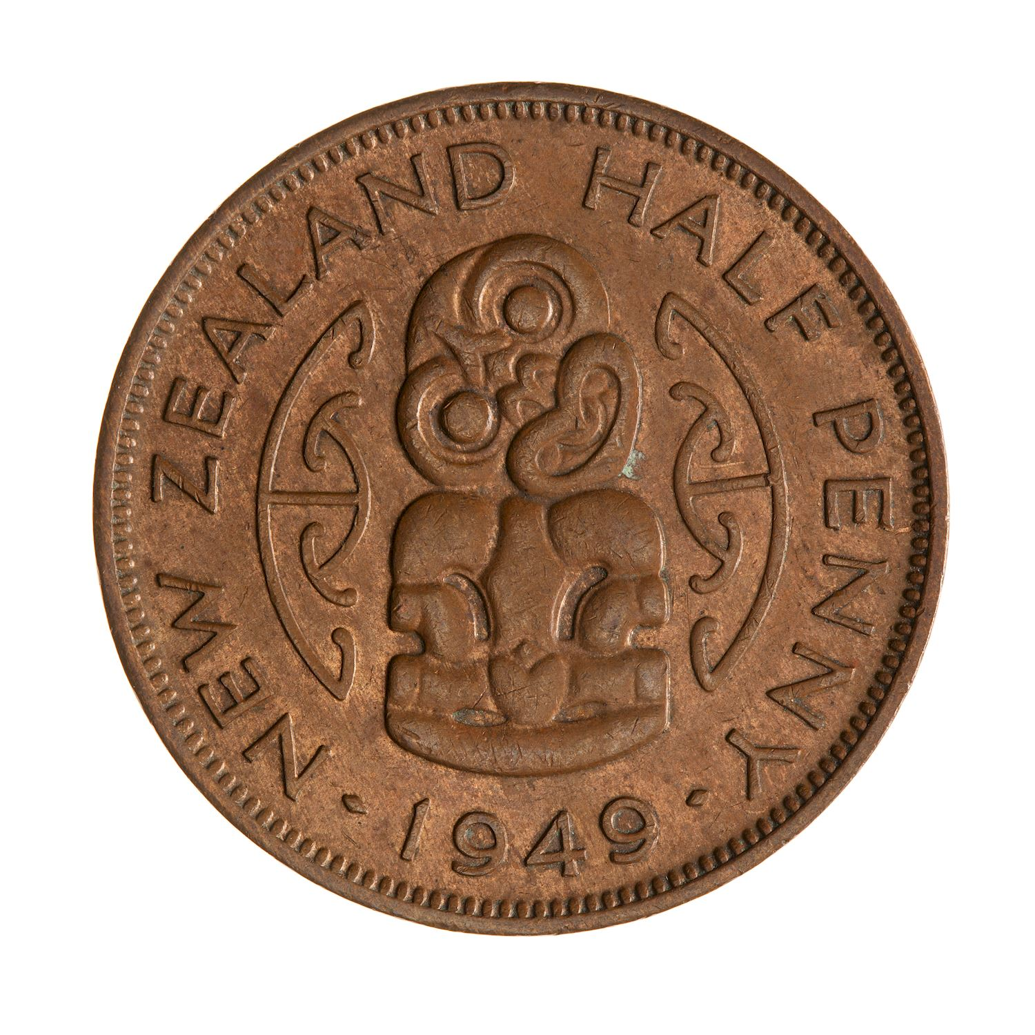 Halfpenny 1949: Photo Coin - 1/2 Penny, New Zealand, 1949