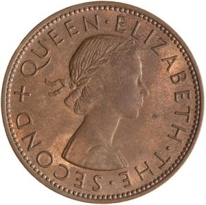 New Zealand / Penny 1957 - obverse photo