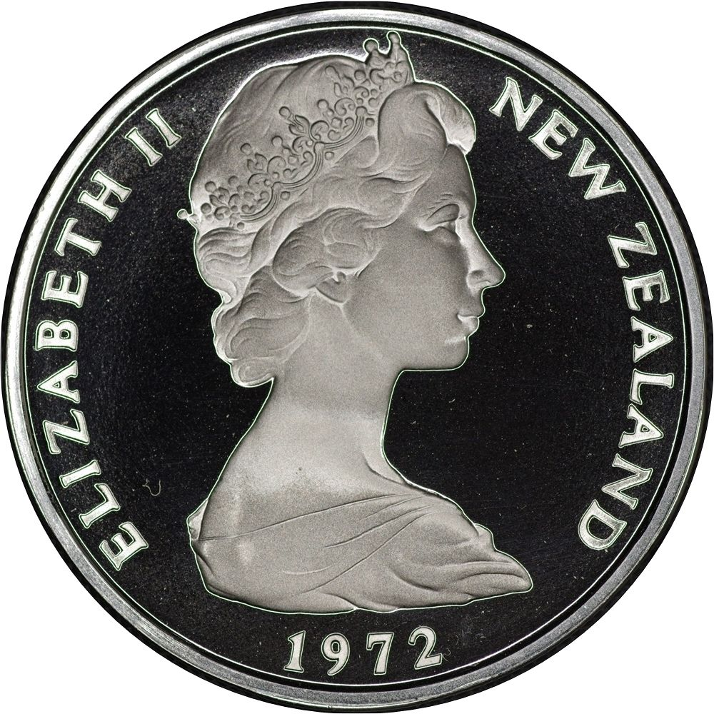 Fifty Cents 1972: Photo Proof Coin, New Zealand, 50 Cents 1972