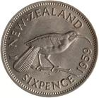 Sixpence 1959: Photo Coin - 6 Pence, New Zealand, 1959