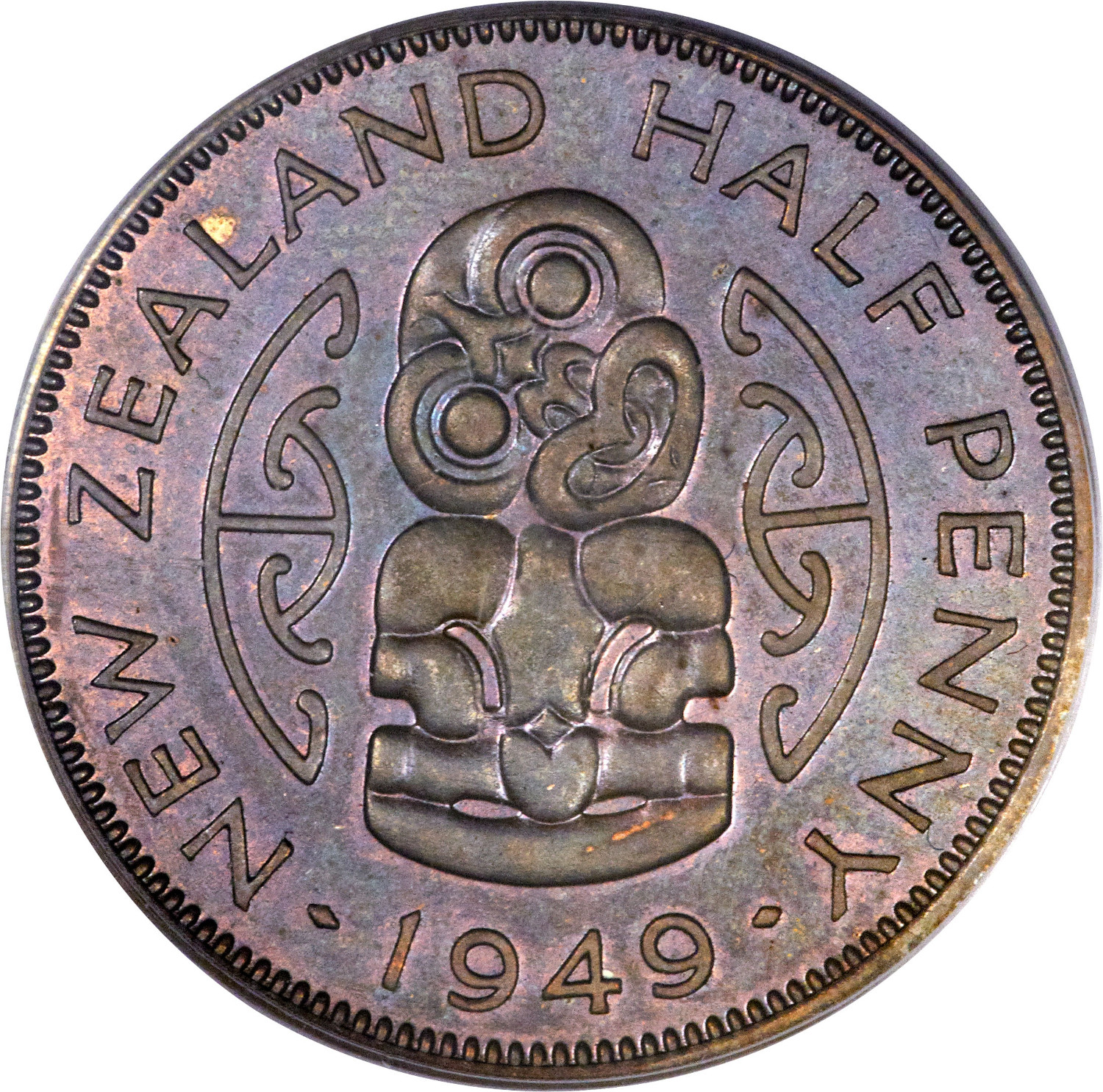 Halfpenny 1949: Photo New Zealand 1949 1/2 penny