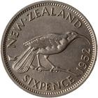 Sixpence 1952: Photo Coin - 6 Pence, New Zealand, 1952