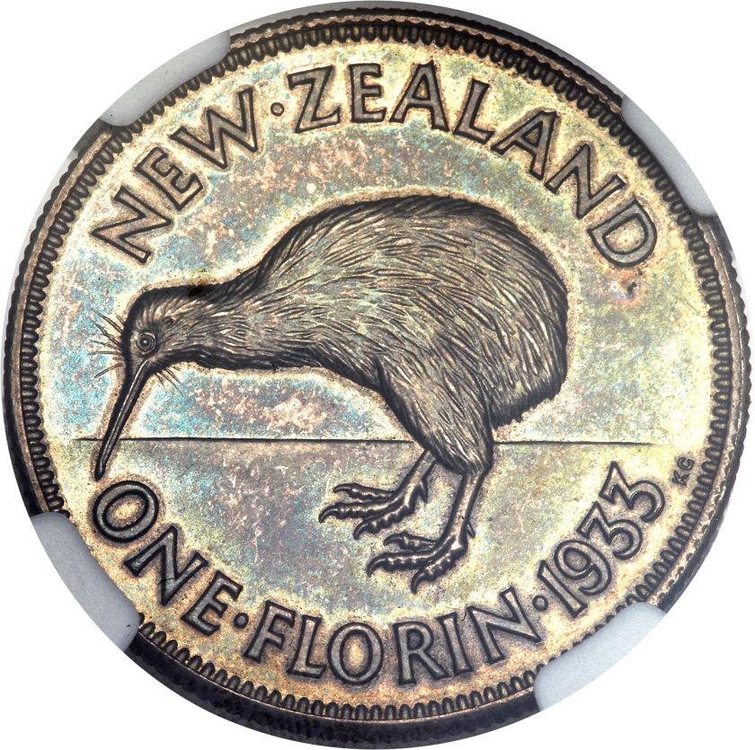Florin 1933: Photo New Zealand 1933 florin