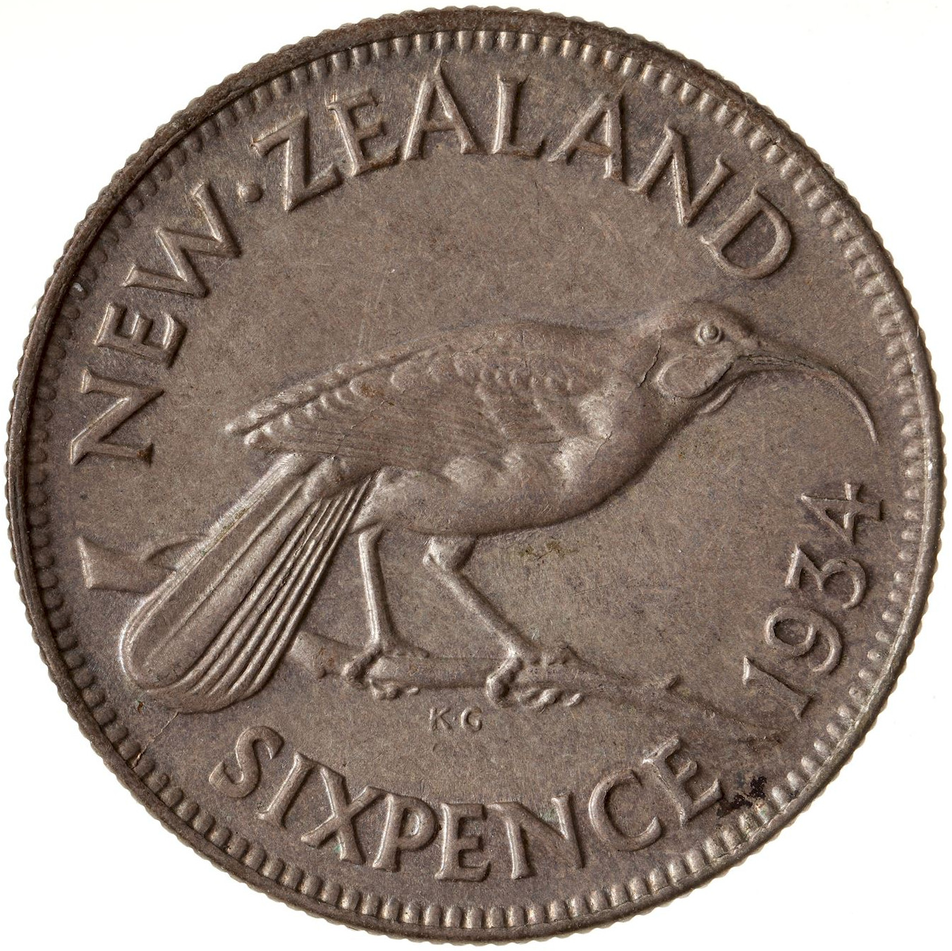 Sixpence 1934: Photo Coin - 6 Pence, New Zealand, 1934