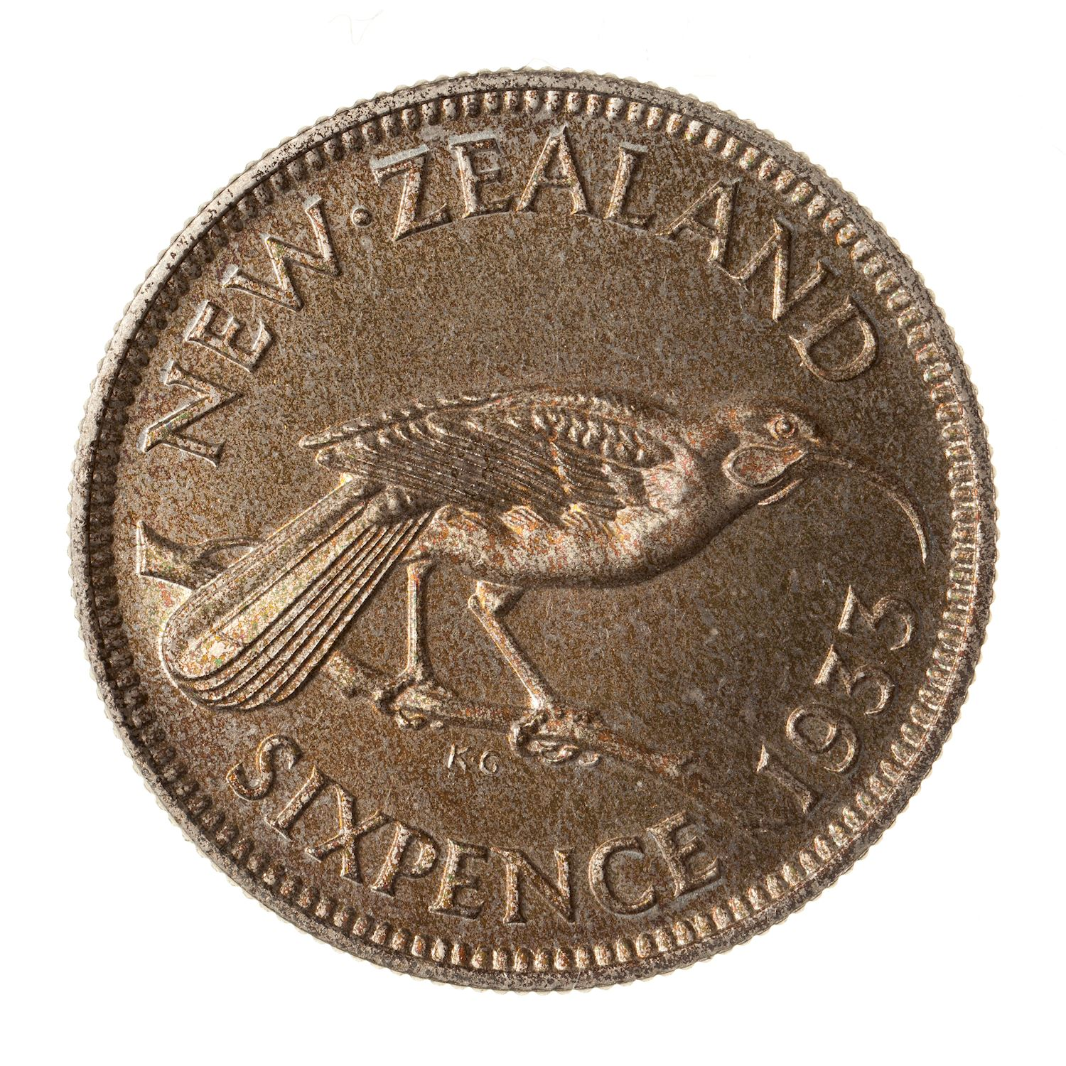 Sixpence 1933: Photo Proof Coin - 6 Pence, New Zealand, 1933